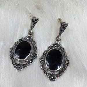 Sterling Silver Marcasite & Onyx Dangle Earrings